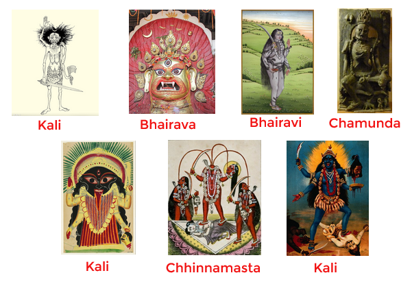 Images of deities causing a trembling: Kali with sword, Bhairava, Bhairavi, Chamunda, Black Kali, Chhinnamasta, Kali on Shiva