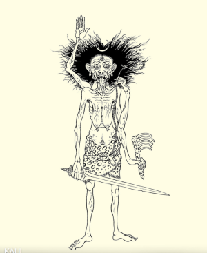 Kali as old lady with sword, bones and noose in her hands and with crescent in her hair